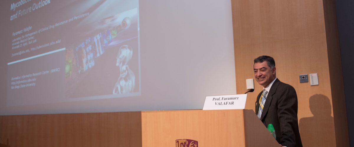 Faramarz giving lecture